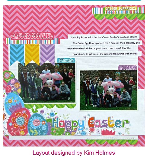 Scrapbook layout page using Reminisce Happy Easter collection. All materials can be found on this board and purchased through your Scrabpook Stash on 11 Main. https://11main.com/yourscrapbookstash/s/2693?source=user&searchterm=reminisce%20happy%20easter