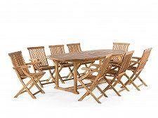 Fa kerti bútor szett - Kerti asztal és székek - akácfa - asztal 180/220x74 cm + 8 szék