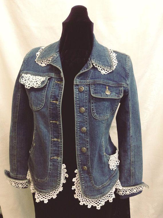 Denim jacket size M embellished with vintage by TabithasPearls, $44.00
