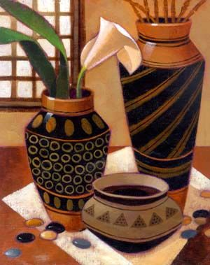 Keith Mallett - Still Life With African Bowl is a giclee on canvas fine art print