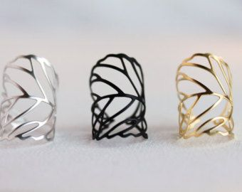 Delicate Leaf Branch ring Silver OR Gold Everyday by MakiYDesign