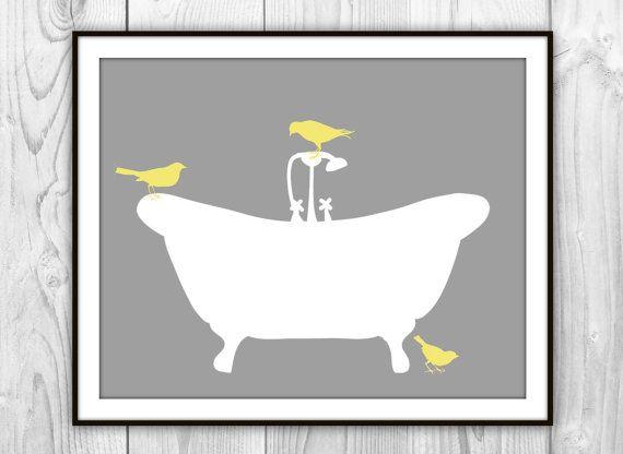 Birds on Bathtub Art Print - Gray, White, Yellow Silhouette - Modern Bathroom Decor - Bath Art on Etsy, $6.00