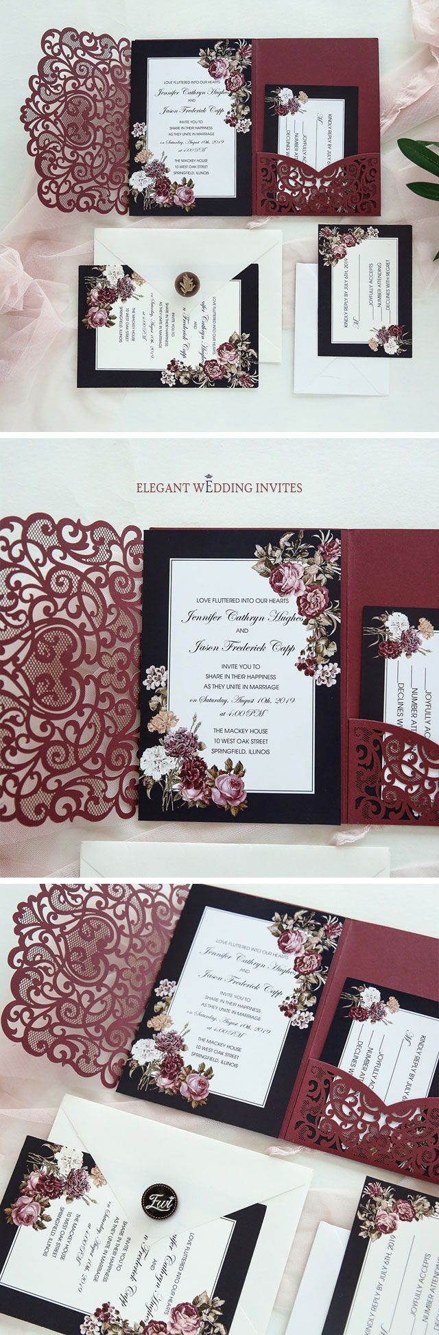 Blooms Around Every Turn-Burgundy Laser Cut Pocket Fold invitation with victorian inspired floral EWWS243