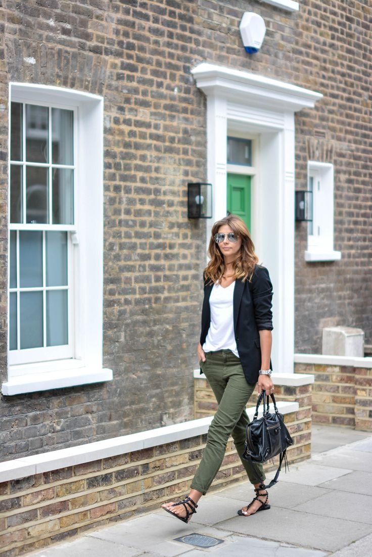 Black blazer, khaki trousers, studded sandals, white t shirt, Balenciaga bag, mirror lens aviators, casual outfit