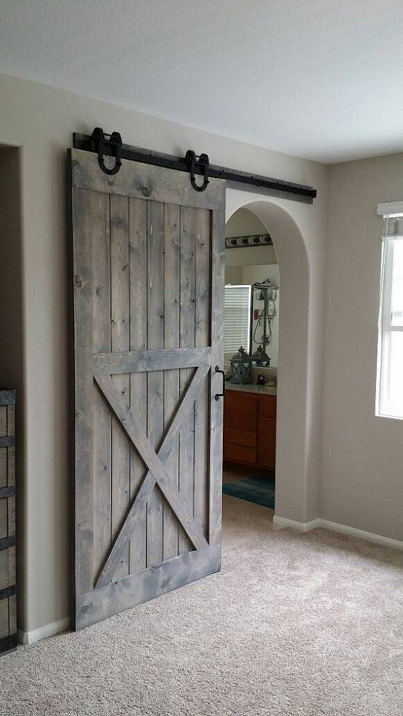 More than I'd want to spend but I'd love to have a sliding bar style door like this leading to my townhome's master bath: Single Stain Application by PlankandChisel on Etsy