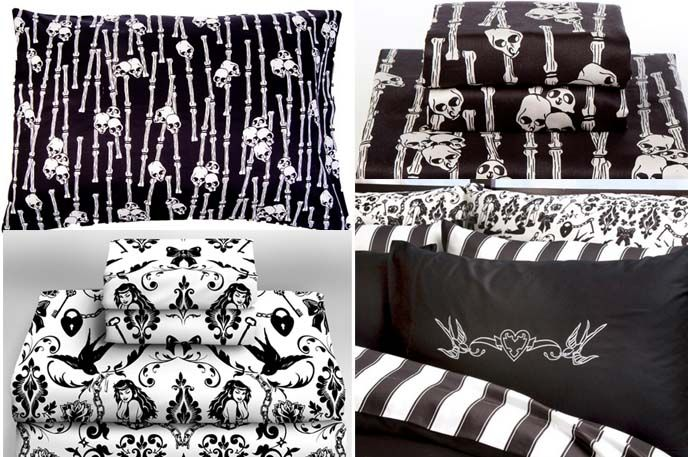 goth bedroom, alternative home decor, punk rock house, Sexy unique designer shower curtains, bedding, linens, pinup, skull, pirate, cool aprons, animal print bedsheets, skull pillows, pin up burlesque home decoration, bedroom diy tips, tutorials, jrock bedrooms, gothic lolita bedroom, japanese girl bed room