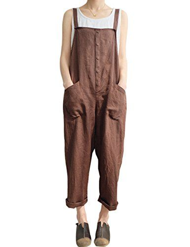 77c1f5dc430 Gihuo Women s Retro Style Cotton Linen Button Front Baggy Bib Overall Pocket  Jumpsuit Romper Plus Size (Coffee