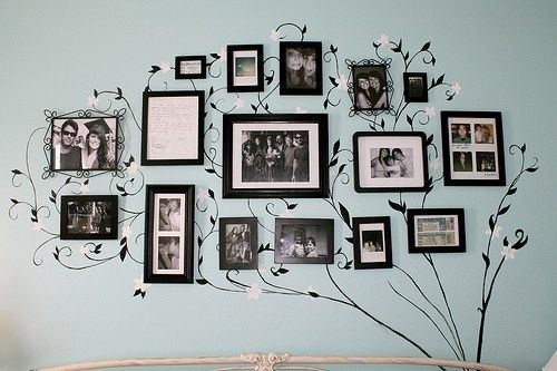id love to do something like this in the living room with family photos and charley photos and what not...assuming i actually have enough