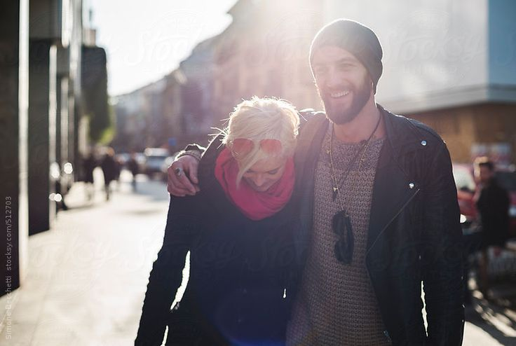 Young couple walking in the city.
