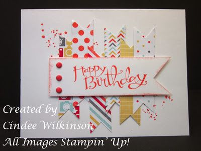 Stampin' Up!: Happy Birthday Flag Card Sassy Salutations, I am Me Designer Series Paper, Candy Dots.