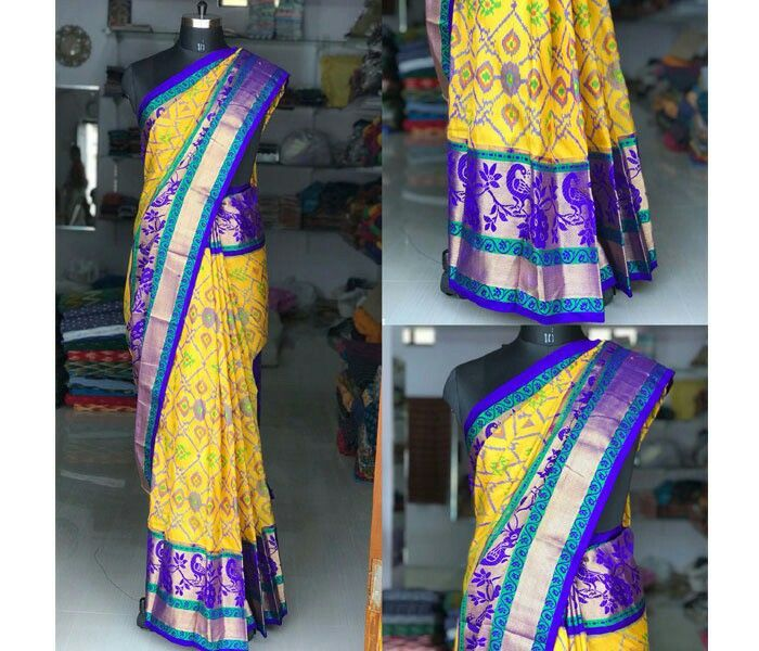 Pochampally Pure  ikkat silk hand weaved Dark Blue Saree with all over pochampally weaving and tissue border saree with blouse