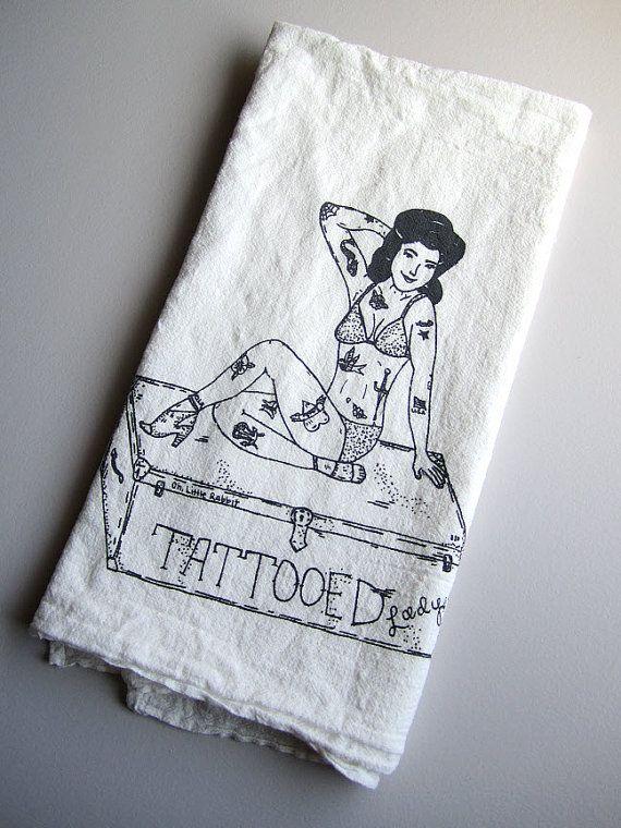 Tattooed Lady Kitchen Tea TowelOrganic Cotton, Prints Organic, Teas Towels, Screens Prints, Flour Sack, Tea Towels, Sack Teas, Circus Tattoo, Cotton Flour