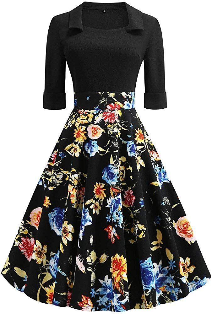 Womens Vintage Patchwork Flare Dress A-line Floral Party Dress
