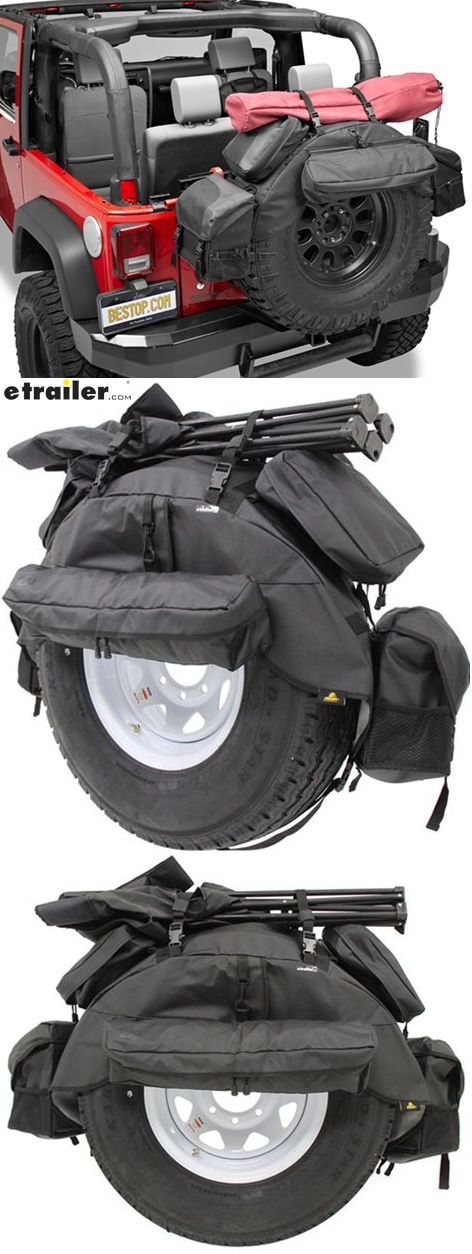Turn your Jeep Wrangler spare into storage space with a RoughRider spare tire organizer. Five removable bags securely attach to the base wrap that also acts as a cover to protect the top of your spare. Made of Jeep soft top fabric for all-climate durability.