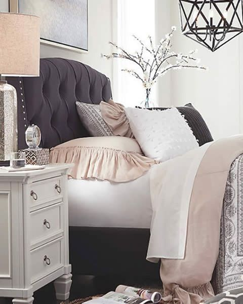 With our #Kasidon tufted bed at home, taking a sick day can be pretty tempting.  #coughcough #myashleyhome