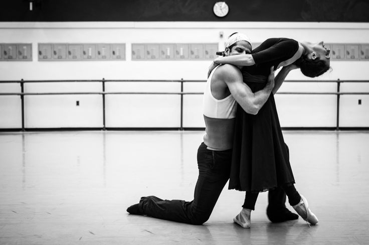 Dorothée Gilbert, Danseuse Étoile de l'Opéra National de Paris and Marcelo Gomez, Principal Dancer at the American Ballet Theatre, rehearsing Romeo & Juliet at the Lincoln center in New York. Photography by James Bort