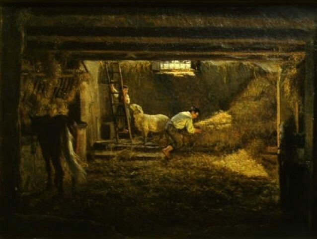 Filippo Palizzi (1818–1899) Interno d'una stalla, cavallo di scorcio e figure - Riflessi di sole (Cava)Date1854Mediumoil on canvasDimensions36.5 × 49.5 cm (14.4 × 19.5 in)Current location Galleria Nazionale d'Arte Moderna
