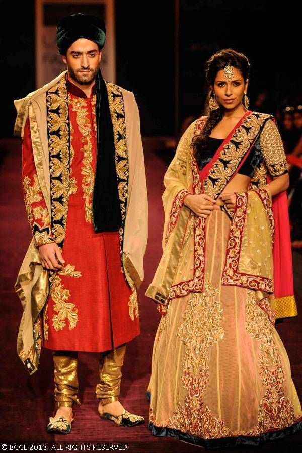 Lengha and Sherwani by Shyamal and Bhumika at LFW 2013