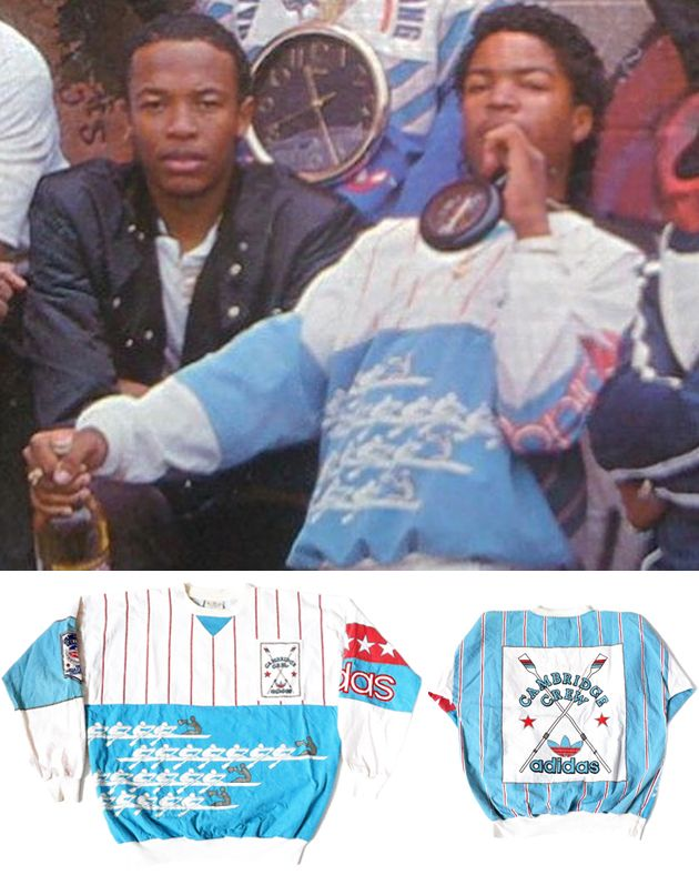Vintage 1980's Adidas Cambridge Crew sweatshirt worn by Ice Cube on the cover of N.W.A. and the Posse.