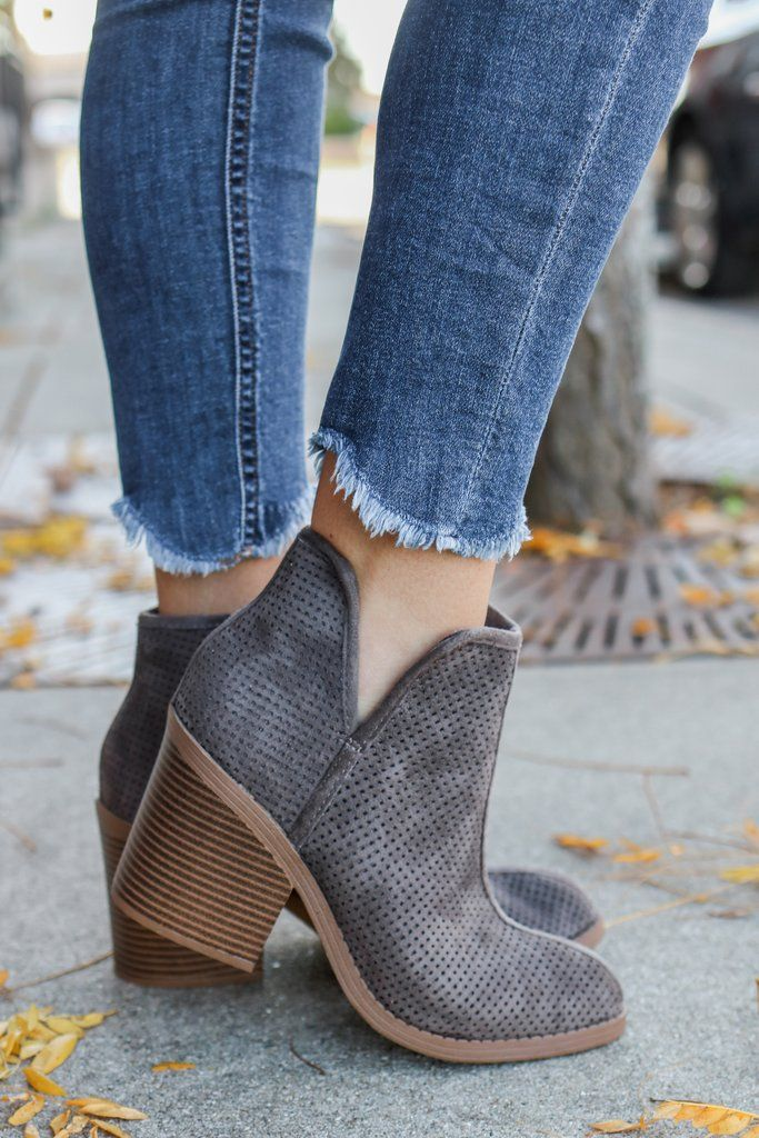 Tarpon-S Charcoal Faux Suede Ankle Booties - UOIOnline.com