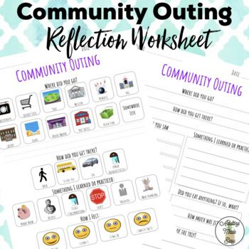 Differentiated Community Outing Reflection Worksheet with Visuals. Great for after CBI or field trip. Print out and fill out after a community outing. Upload onto a Smartboard, go over what the class did together, then have each student fill out their