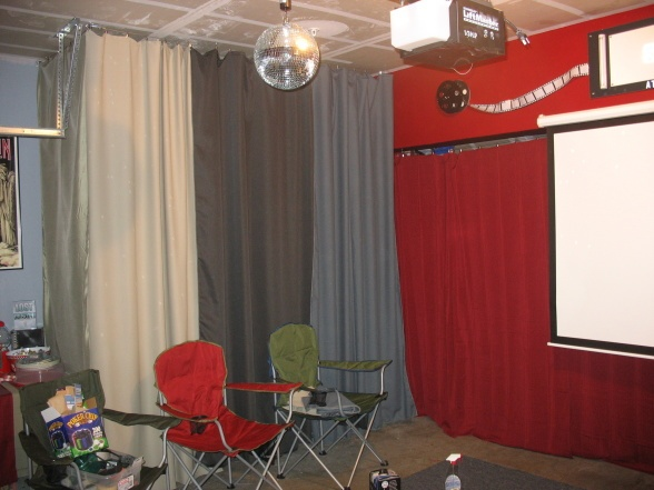 Garage Turned Party Room Love The Curtains Hiding Junk