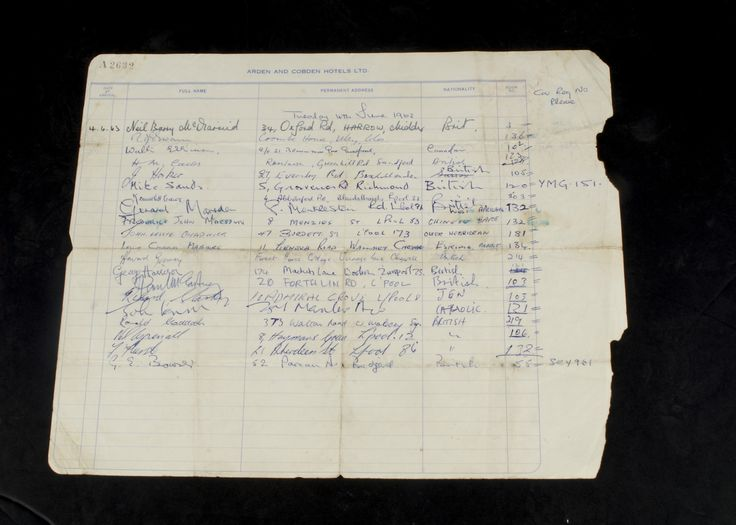 The Beatles / Autographs, An Hotel registration book page from the Arden and Cobden Hotels Ltd, signed by guests on the 4th June 1963, registration include John Lennon, George Harrison, Richard Starkey, Paul McCartney, Neil Aspinall, Mike Sands, Gerry Marsden, Frederick Marsden and others; The Beatles stayed there after the performance at The Birmingham Town Hall, as part of The Roy Orbison UK Summer Tour, 18th May to 9th June 1963; they supported Roy along with Gerry and The Pacemakers…