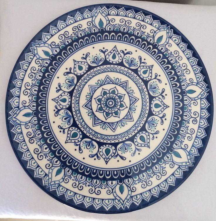 linda boleira mandala azul e turquesa com espátula