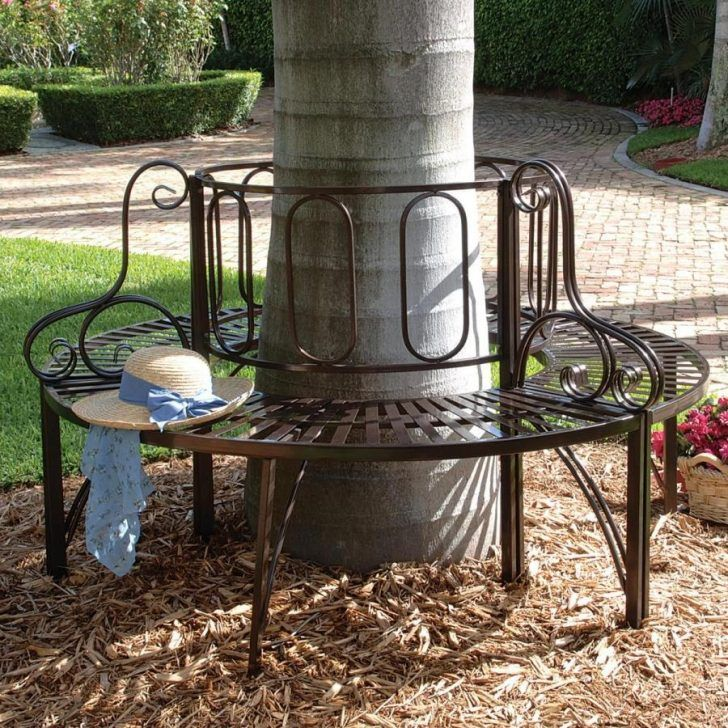 Adorable Round Wrought Iron Benches Under Tree For Graden With Brick Floor  Plus Creative Flower Decorative