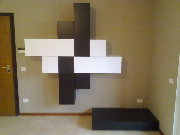 appartamento a Lambrugo composizione soggiorno creata su disegno del cliente