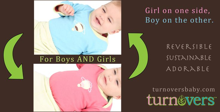 Reversible, boy-to-girl 2-piece set, $42, Turnovers. Complimentary Gender-Reveal service includes your gift-wrapped order delivered with the appropriate side facing out. Unwrap your surprise and find out if you're having a son or a daughter!
