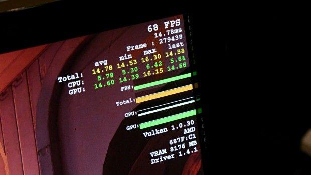Ein Vega-Prototyp hat 8 GByte HBM2 und schafft 70 fps in Doom in 4K mit Ultra-Preset und Vulkan-API. (Foto: Marc Sauter/Golem.de)