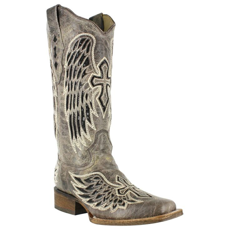 western boots for women   Corral Cross and Wing Sequin Inlay Square Toe Western Boots For Women