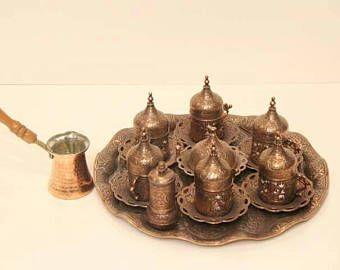 Handmade Turkish Coffee Cups / Coffee Cups / Cups / Cup / Turkish Coffee / Bronze Color