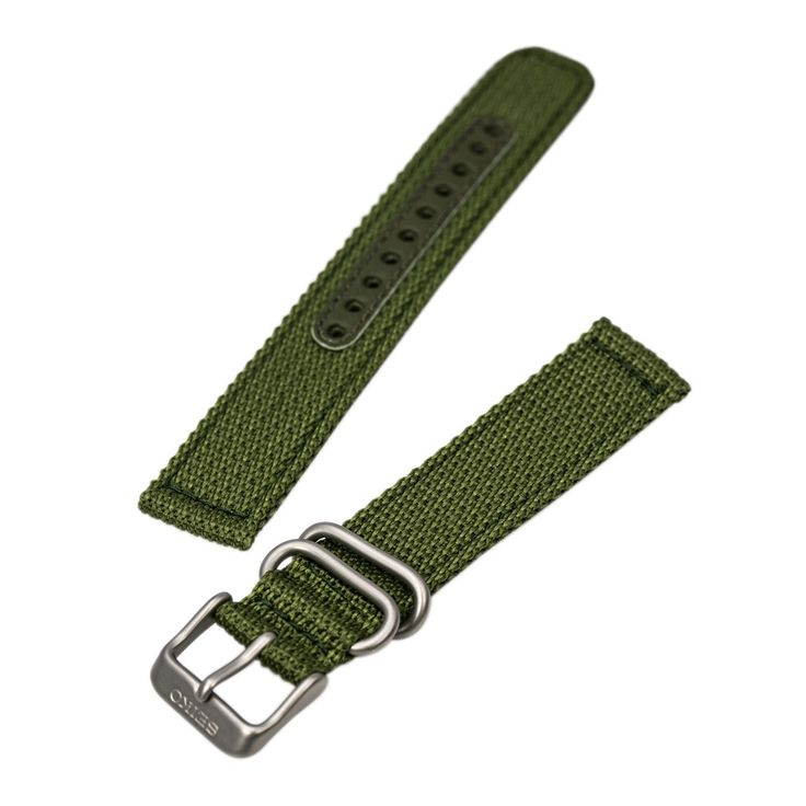 Seiko Unisex's 16 mm Wide Olive Green Nylon Band for Seiko SNK809, SNK805, SNK807, and SNK813
