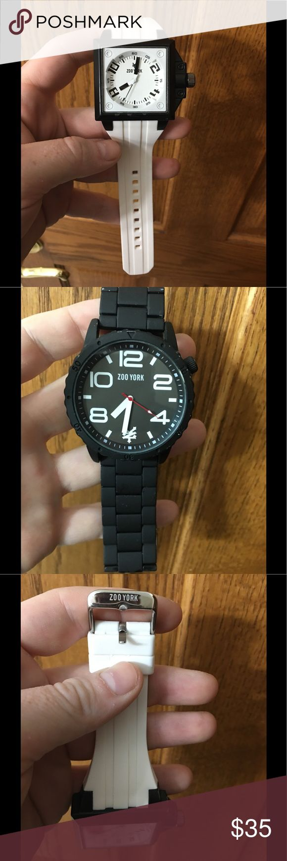 2 Zoo York Watches One is a white adjustable band, white faces but black frame. The other is an all black white big white numbers, band is adjustable but you have to take out or add links. Zoo York Accessories Watches
