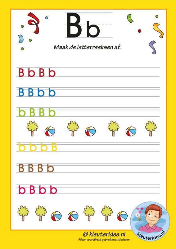Pakket over de letter b blad 11, maak de letterreeksen af, letters aanbieden aan kleuters, kleuteridee.nl, free printable.