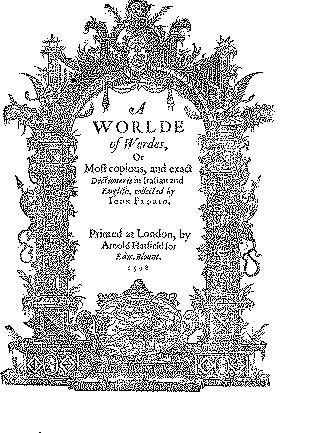 Florio's 1598 Italian/English Dictionary