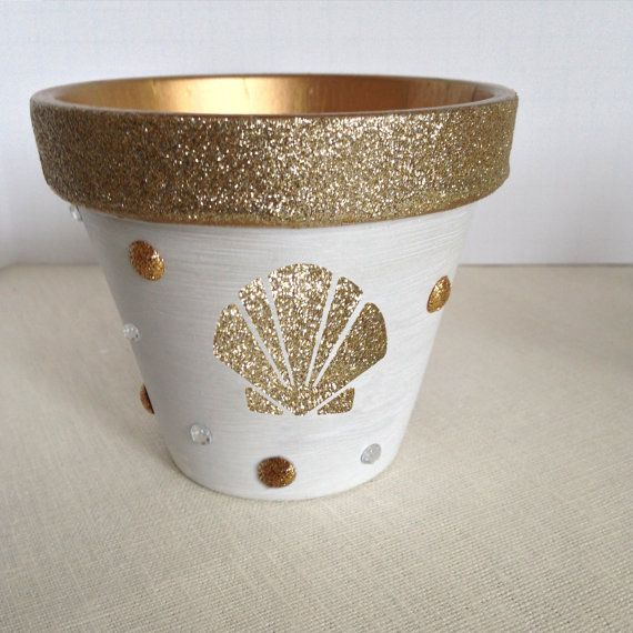 White with Gold Glitter Painted Flower Pot Mothers Day Gift - New Home Gift - by HamptonMosaics
