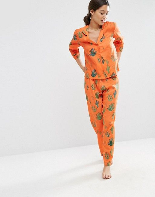 ASOS | ASOS Cactus Traditional Shirt & Long Leg Pyjama Set