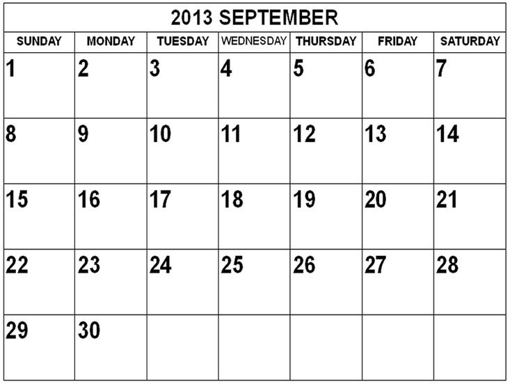 2013 Calendar August