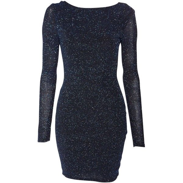 Lipsy Long Sleeved Cowl Back Glitter Bodycon ($53) ❤ liked on Polyvore featuring dresses, navy, women, long sleeve glitter dress, navy long sleeve dress, long sleeve bodycon dress, navy blue bodycon dress and navy dress