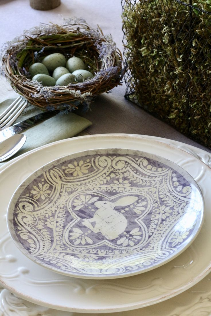 easter-table-with-nests-and-pottery-barn-plate
