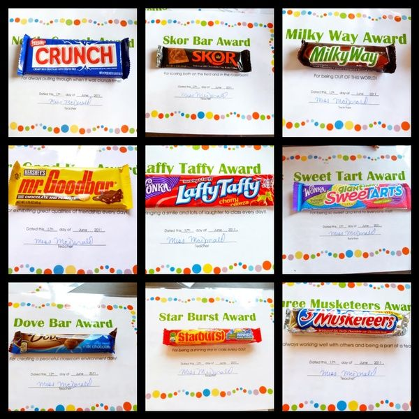 Candy bar awards. My fifth grade math class would love this!