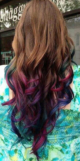 Jewel-toned tips on long brunette hair!!! Simply gorgeous!!!