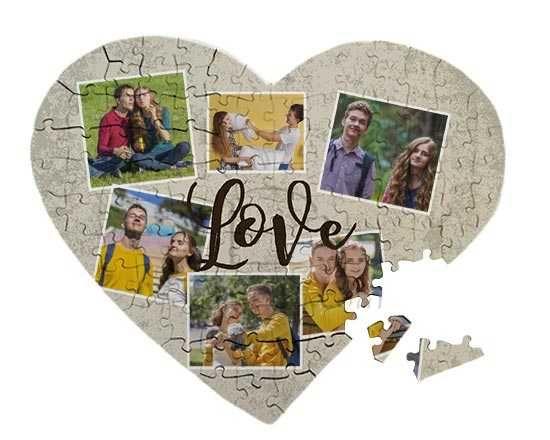 Puzzle cuore A3 con grafica collage