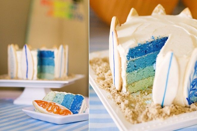 layered blue surfboard cake