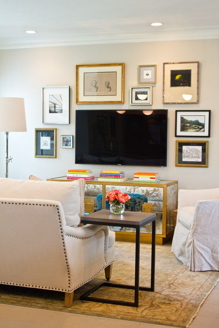 Balanced gallery wall with gold frames around tv via material balanced gallery wall with gold frames around tv via material girls home pinterest tvs frames and gallery wall geotapseo Gallery