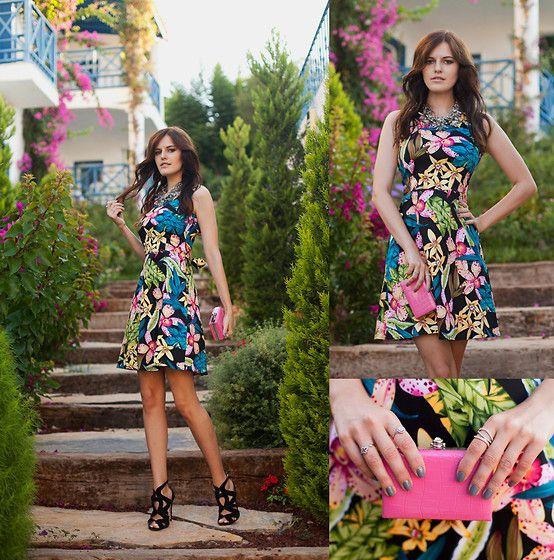 Viktoriya Sener - Iclothing Dress, Zara Sandals, Zara Necklace, Zealorties Clutch - DARK FLOWERS vol.2