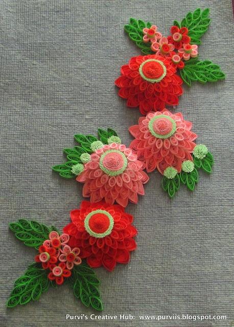 3D Quilled Dahlia, 3D Quilled flower purviis.blogspot.com
